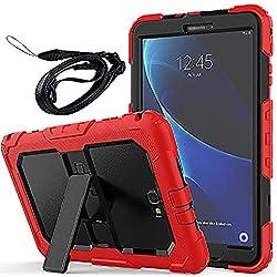 Newseego Coque Samsung Galaxy Tab A6 10.1 '', Étui de Protection Antichoc Corps Entier avec des Bretelles Kickstand Robuste pour Tablette Galaxy Tab A 10.1 '' (SM-T580 / T585) - Rouge