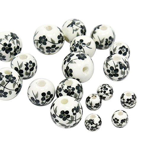 PandaHall- Lot de 50pcs Fait a main Imprimé Fleur Porcelain Perles, Rond, Noir & Blanc, 6~12mm, Trou: 2mm