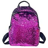 HCFKJ Schultasche, Mode Mädchen Pailletten Schultasche Rucksack Schulranzen Reise Umhängetasche (Purple)