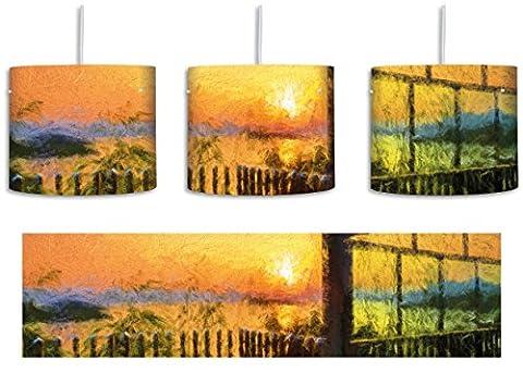 Haus am See im Sonnenuntergang Bunstift Effekt inkl. Lampenfassung E27, Lampe mit Motivdruck, tolle Deckenlampe, Hängelampe, Pendelleuchte - Durchmesser 30cm - Dekoration mit Licht ideal für Wohnzimmer, Kinderzimmer, Schlafzimmer