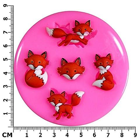 Mr Fox 'You're so Foxy'Moule en Silicone pour décoration de gâteau/Cupcake Toppers Décoration de gâteaux glaçage pâte à sucre Par les fées Blessings outil