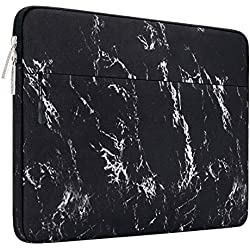 MOSISO Housse Compatible avec 13-13,3 Pouces MacBook Pro, MacBook Air, Notebook Compatible avec Poche Accessoires, Laptop Sleeve Ultra-Portable Toile Tissu Marbre Motif Sac, Noir