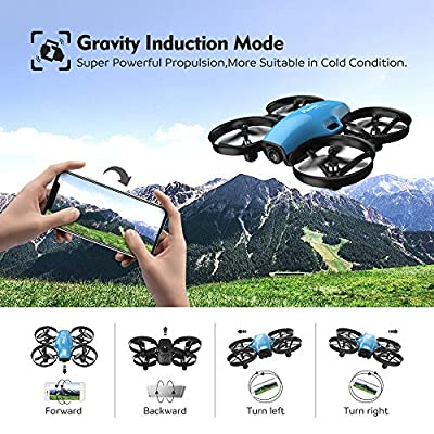 Potensic A30W FPV Drone, Mini RC Nano Quadcopter with Camera, Auto Hovering, Route Setting, Gravity Induction Mode and 500mAh Detachable Battery