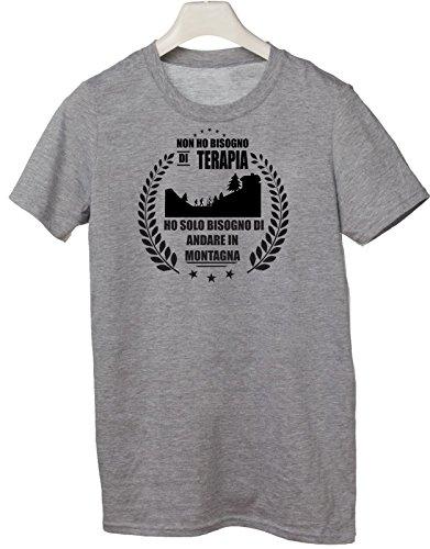 Tshirt non ho bisogno di terapia ho solo bisogno di andare in montagna - Tutte le taglie by tshirteria Grigio