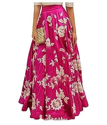 DHARMI ENTERPRISE Women's Crepe Silk Lehenga Choli (Pink, Free Size)
