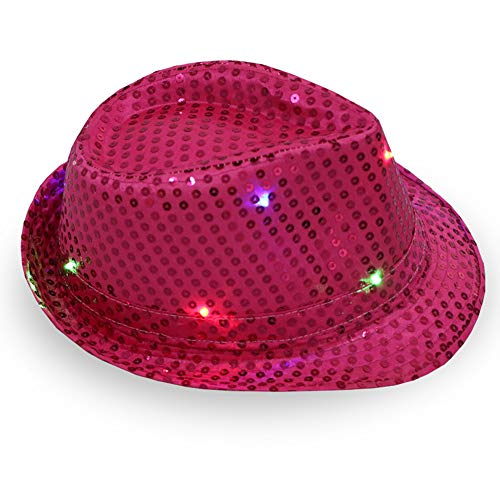 Kostüm Tanz Schneemann - 1 stück frauen männer led leuchten jazz hut, Erwachsene Glitter Pailletten Hut Kostüm Party Cap für Tanzparty mit 9 Blinkende LED Lampen
