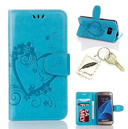 Preisvergleich Produktbild Silikonsoftshell PU Hülle für Galaxy S7 (5,1 Zoll) Tasche Schutz Hülle Case Cover Etui Strass Schutz schutzhülle Bumper Schale Silicone case+Exquisite key chain X1#AO (2)