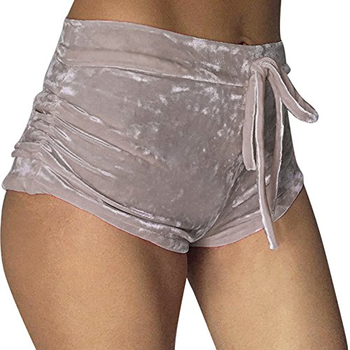 VENMO Frau Soft Velvet Kordelzug Elastische Shorts Lässige hohe Taille dünne Hosen Damen Pailletten Shorts Elastische Taille reizvolle Glitzer Party Tanz Kurz Hose Hotpants Shorts Kurze Hose Beach Pants (Khaki, L) (Stretch-strumpfhosen Tanz)