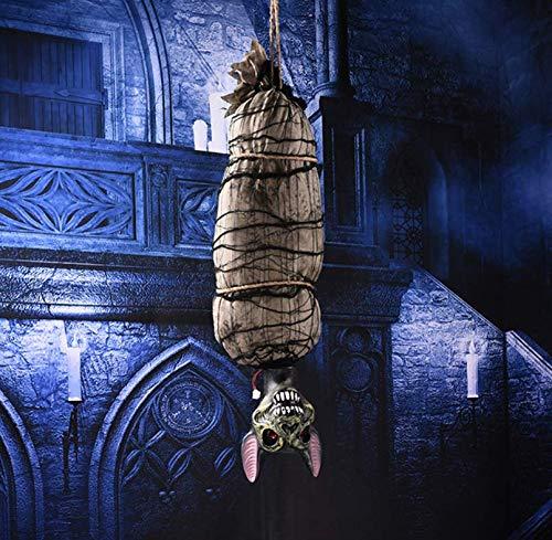 YC DOLL Halloween Haunters Animierte 4 Fuß Hängende Helle Körper Cocoon Leiche Requisiten Dekoration-Beängstigend LED-Augen, Heulende Geräusche-Gruselige Hängende Cocoon Mumie