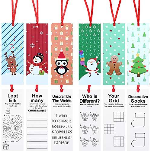 60 Pezzi Segnalibro di Natale Vacanza Segnalibro Natale Decorazione Carattere con Santa Pupazzo di Neve Renna Albero Natale Disegno per Natale Regalo Festa Bomboniere