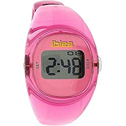 Ibiza Laides - Girls Digital Transulscent Pink Solid Plastic Bangle Watch
