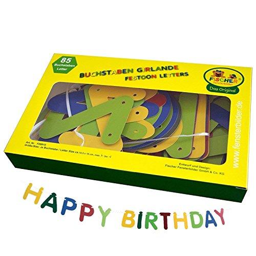 Buchstaben-Girlande / mit 85 farbigen großen Buchstaben / bis 300 cm lang / ca. 10 cm hoch / für Geburtstag, Hochzeit, Einweihung und vieles mehr
