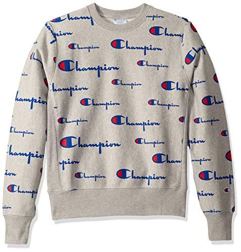 Champion Life Herren Reverse Weave Crew-Print Sweater Sweatshirt, Multi Scale Script/Oxford Grey, Mittel - Crew Sweatshirt Oxford