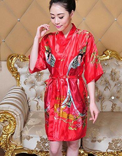 LJ&L Breve paragrafo accappatoio home servizio traspirante biancheria intima di simulazione della signora del vestito di seta comodità del cardigan accappatoio di seta moda pigiama,yellow,one size Red