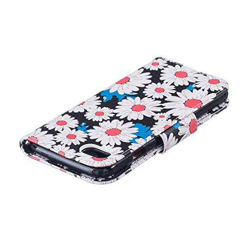 SainCat Apple iPhone 7 Custodia in Pelle,Anti-Scratch Protettiva Corpertura Caso Custodia Per iPhone 7,Elegante Creativa Dipinto Pattern Design PU Leather Flip Ultra Slim Sottile Morbida Portafoglio W crisantemo