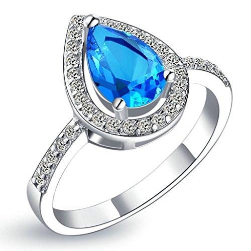 KnSam Damen Platin Plattiert Verlobungsringe Wasser Tropfen Halo Blau Größe 60 (19.1) Crystal [Neuheit (Perücken Halo)