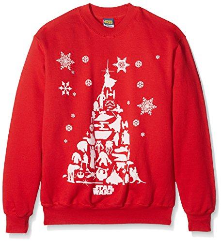 Kunststoff Kopf Herren Star Wars Weihnachtsbaum CSW –, Kragen Lange Ärmel Sweatshirt Gr. Small, Rot (Star Wars Weihnachten Pullover)
