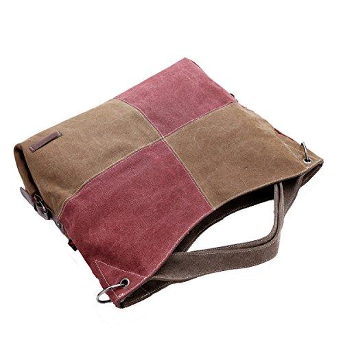 Grande Capacità Di Moda Borse Della Tela Multicolore Brown