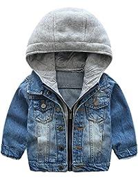 ARAUS Niños Chaqueta Vaquera con Capucha Demin Jacket Abrigo Sudadera Primavera y Otoño para Niñas Bebé 1-7 Años
