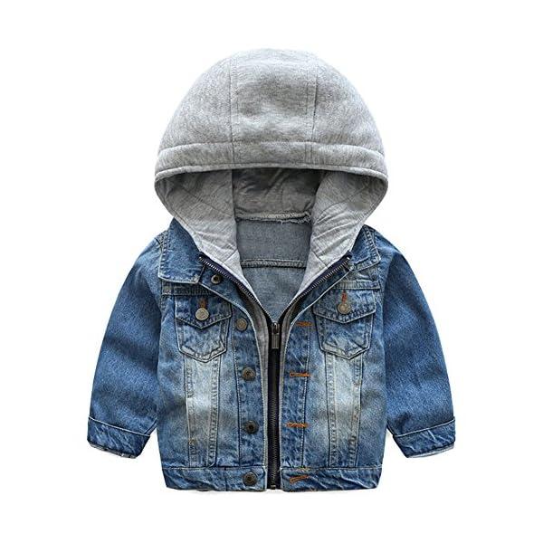 Odziezet Chaqueta Vaquera Niño Niña Demin Jacket con Capucha Abrigo Bebé Camisa 1-7 Años 1