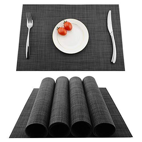 Lugoo tovagliette pvc set di 4 tovagliette da tavola lavabili non-scivolose tovagliette in vinile facili da pulire per hotels ristorante catering 45 x 30 cm( nero grigio)