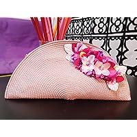 Bolso abanico mujer rosa nude con cremallera con detalle de flores accesorio para bodas invitadas evento
