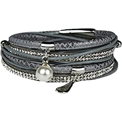 Mevina Damen Strass Armband Wickelarmband Perle Magnetverschluss Shamballa Perlenarmband Grey A1171