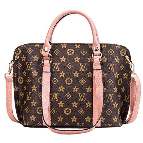 Ldyia Tasche Frau Tasche Einkaufstasche alte Blume Mode Handtasche Druck Schulter umschlungen kleine Tasche einfache Eimer Tasche, pink (Mk Handtasche Frau)