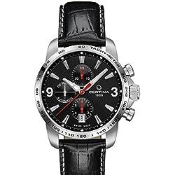 Certina - Reloj automático para hombre, correa de cuero color negro