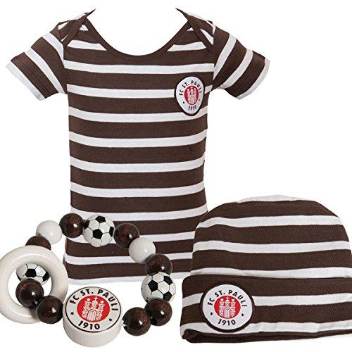 FC St. Pauli 3-teiliges Baby-Set (Mütze, Holz-Greifling von Heimess und T-Shirt) Vereinslogo - weiß/braun gestreift - für 6 Monate (Größe 68), 12 Monate (Größe 80), 18 Monate (Größe 86) (6 Monate) (Nur Die Herzen, Club-kleidung)