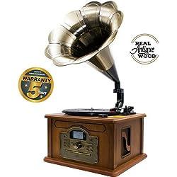 Lauson CL147 Gramófono Retro Bluetooth Función Encoding, Tocadiscos Vintage Trompeta de Madera con Altavoces Incorporados, Radio, CD, Usb, MP3, 3 Velocidades (33/45/78 RPM)