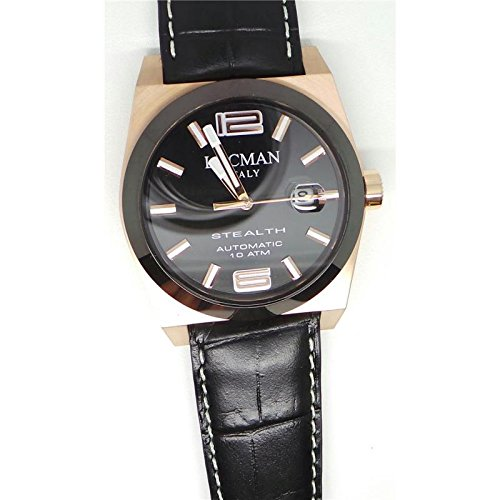 Montre Locman Stealth 0205rgbkf5N0psk automatique Titane Quandrante Noir Bracelet Cuir