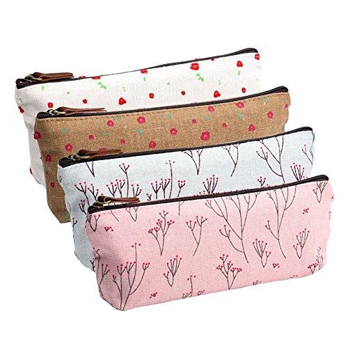 Cdet Federmappe, elegantes Blumenmuster, Satin-Stoff, Tasche für Bürobedarf, Reisetasche, Kosmetiktasche, Aufbewahrungstasche, 4 Stück  -