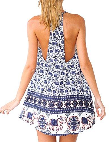 CRAVOG Sommer Damen Partykleid Abendkleid Minikleid Strandkleid Blumenkleider Blau