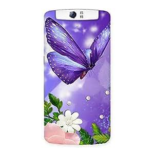 Voilate Butterfly Back Case Cover for Oppo N1