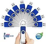 16GB Chiavetta USB 10 Pezzi - JUYUKEJI 16 GB Chiavette Pennetta Pendrive Penna Memoria USB Stick Flash Drive con Metallo Clip and Portachiavi Gancio per PC Tablet Macbook TV Auto (16 Giga, Blu)