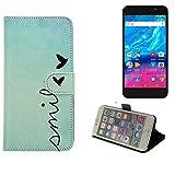 K-S-Trade Für Archos Core 55P 360° Wallet Case Schutz Hülle ''Smile'' Smarpthone Flip Cover Flipstyle Tasche für Archos Core 55P
