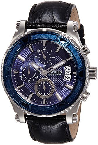 Guess Herren-Armbanduhr Analog Quarz Leder W0673G4
