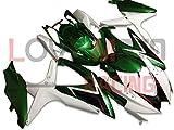 LoveMoto Verkleidung für GSX-R600 GSX-R750 K8 2008 2009 2010 08 09 10 GSXR 600 750 ABS Spritzguss Kunststoff-Motorradverkleidung-Sets Grün Weiß
