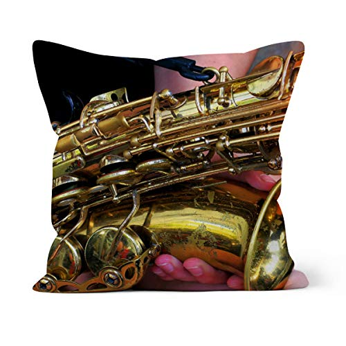 fotobar!style Motivkissen 40 x 40 cm mit Füllung Altsaxophon Closeup