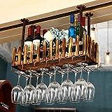 CXZS-wine rack Portabottiglie in legno massello americano A capriate tavolo da bar ristorante Appendiabiti da parete appendino creativo porta vino rosso 美式 实木 酒架