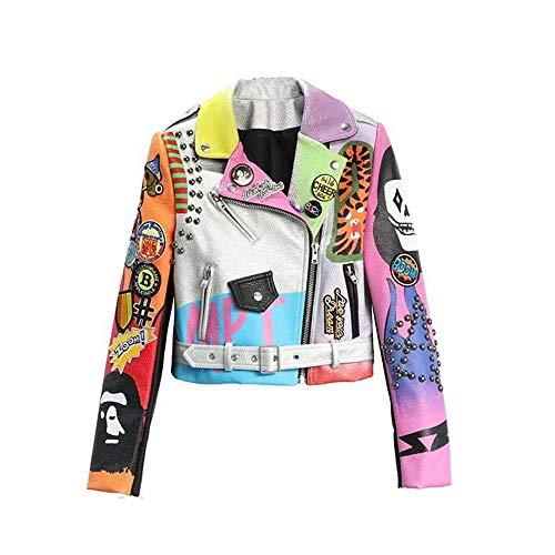 WLXFVNYBD Cropped Lederjacken Frauen Hip Hop Bunte Nieten Mantel New Spring Damen Motorrad Punk Cropped Jacke Mit Gürtel, L