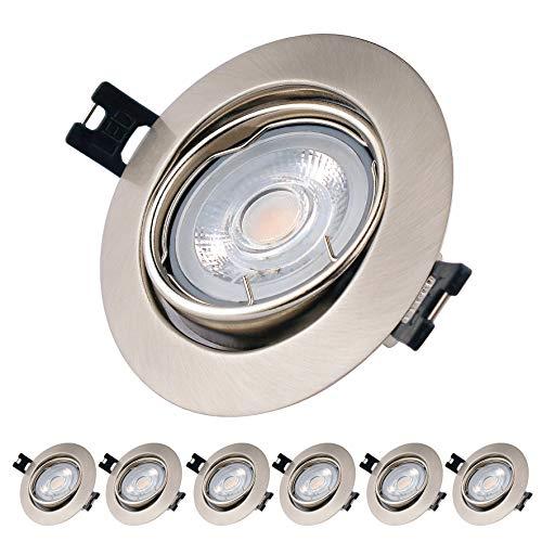 LED Einbaustrahler warmweiss 2700K 5W LED Deckenstrahler, Innovativ Ultra Dünn GU10 LED Einbauleuchten, Rund-metall matt-nickel LED Einbauleuchte, Inkl.LED Leuchtmittel und Lampenhalter, 6 set Pack.