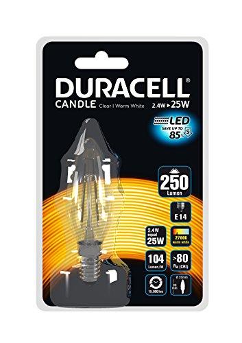 Duracell LED 2,4W klar Kerze E14Fassung Langlebig sofort auf Licht