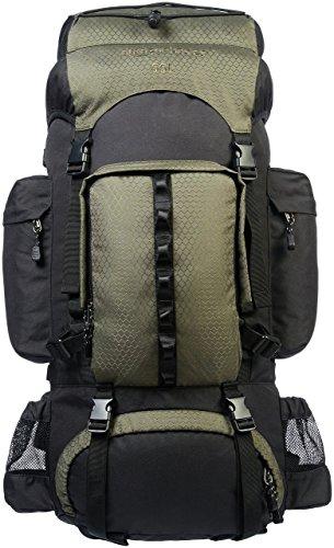 AmazonBasics - Zaino da escursionismo con telaio interno e cerniera antipioggia, 55 L, Verde