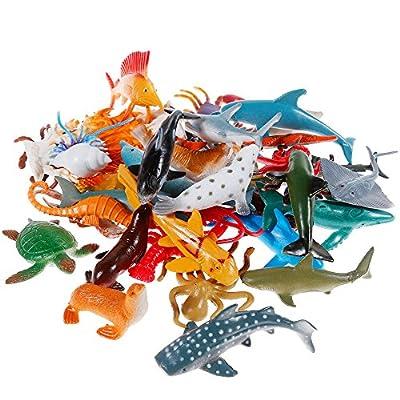 Nabance 38PCS Figures Animaux Marins Jouets Animaux Mini Jouets Animaux Mer Ensemble Réaliste Mer Animal Figure Jouets Éducatifs Animaux Apprentissage Jouets Bain Jouets pour Enfant