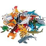 Nabance-38PCS Marins Mini Ensemble Réaliste Mer Figure Éducatifs Animaux Apprentissage Bain Jouets pour Enfant, 38, Multicolor, 38PCS