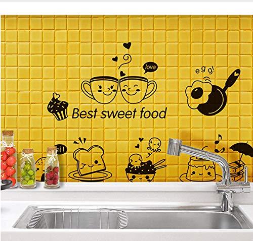 Wiwhy Cartoon Beste Süße Lebensmittel Wandkunst Wandbild Decor Küche Fliesenschrank Kühlschrank Aufkleber Poster S Kaffee Brot Tapete 20X40 Cm