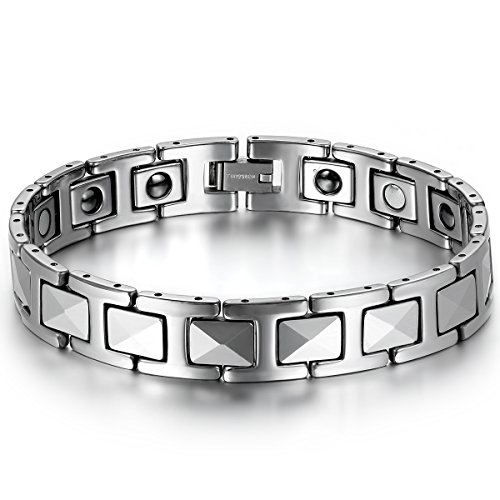 JewelryWe Schmuck Herren Magnet Armband, Wolfram Wolframcarbid, 12mm Breit I Link Gesundheit Magnetarmband Armreif, Silber