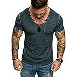 T Shirt Manche Courte Sport Musculation Hommes Été Tattoo Mode Coton Col en V...